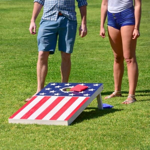 4x2 Waterproof Printed Wear Resistant Surface Eglaf Solid Wood Cornhole Game Set 8 Toss Bags and Portable Woven Carrying Handle Indoor and Outdoor Rustic Cornhole Boards