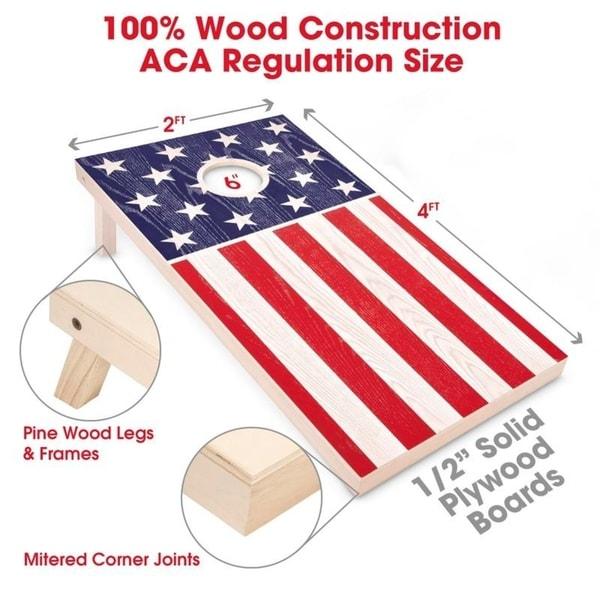 Cornhole Boards Game Set 8 Bags Bean Toss ACA Regulation Classic Size Sports New