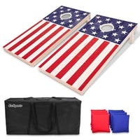 GoSports Regulation Size Solid Wood Cornhole Set - American Flag - Includes Two 4' x 2' Boards, 8 Bean Bags, Carrying Case