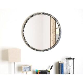 Matte Black Round Mirror