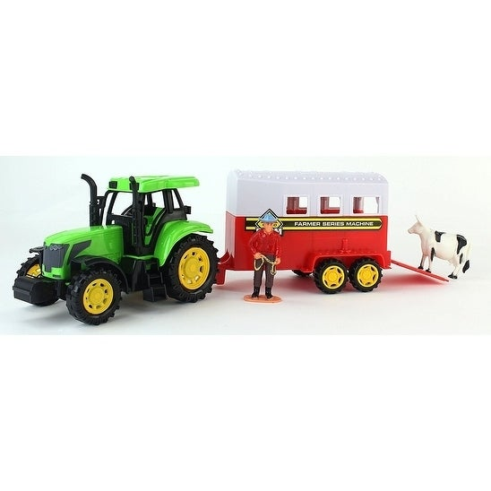 Farm World Friction Powered Green Toy Tractor Trailer Playset