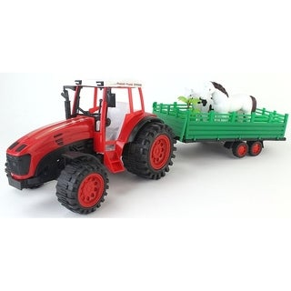 Ranch World Farm Series Friction Powered Red Toy Tractor Playset