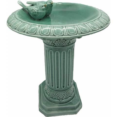 Ceramic Pedestal Birdbath