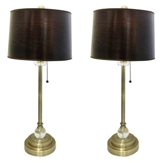 "Royal Designs 28"" Antique Brass Lamp with Brown Wood Texture Hardback Lamp Shade, Set of 2"