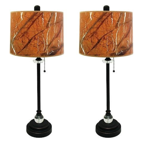 "Royal Designs 28"" Oil Rub Bronze Buffet Lamp with Orange Marble Texture Hardback Lamp Shade, Set of 2"