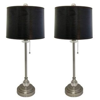 "Royal Designs 28"" Brushed Nickel Lamp with Black Wood Texture Hardback Lamp Shade, Set of 2"
