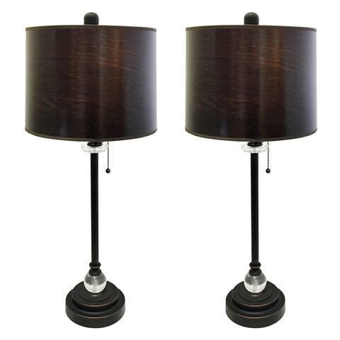 "Royal Designs 28"" Oil Rub Bronze Lamp with Brown Wood Texture Hardback Lamp Shade, Set of 2"