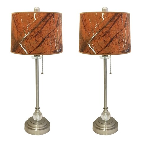 "Royal Designs 28"" Brushed Nickel Buffet Lamp with Orange Marble Texture Hardback Lamp Shade, Set of 2"