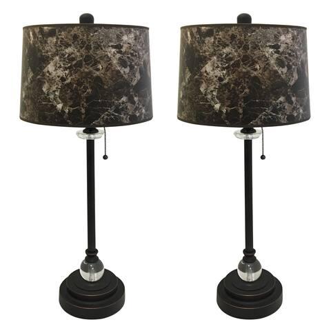 "Royal Designs 28"" Oil Rub Bronze Buffet Lamp with Dark Brown Marble Hardback Lamp Shade, Set of 2"