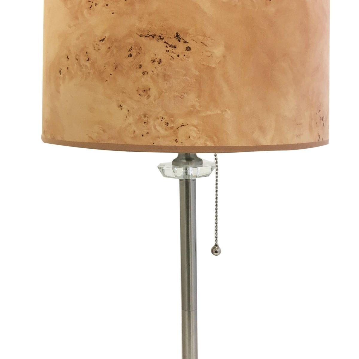 Royal Designs 28 Crystal and Brushed Nickel Lamp with Black Wood Texture Hardback Lamp Shade