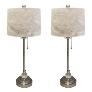 "Royal Designs 28"" Brushed Nickel Buffet Lamp with White Marble Texture Hardback Lamp Shade, Set of 2"