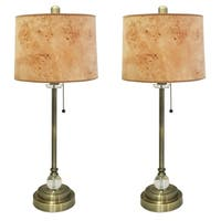 """Royal Designs 28"""" Antique Brass Buffet Lamp with Light Brown Wood Texture Hardback Lamp Shade, Set of 2"""
