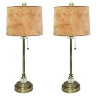 "Royal Designs 28"" Antique Brass Buffet Lamp with Light Brown Wood Texture Hardback Lamp Shade, Set o"