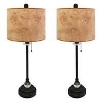 "Royal Designs 28"" Oil Rub Bronze Buffet Lamp with Light Brown Wood Texture Hardback Lamp Shade, Set of 2"