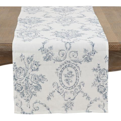 Floral Story Linen Table Runner