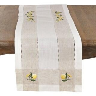 Lemon Embroidery Hemstitch Runner