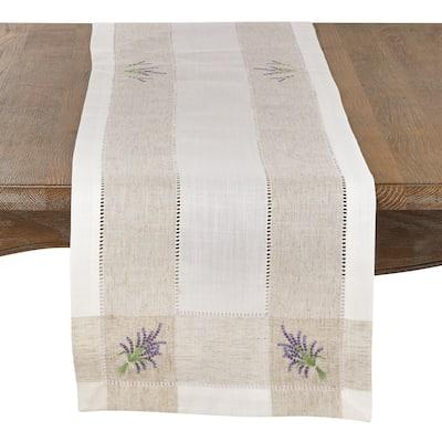 Lavender Embroidery Hemstitch Runner