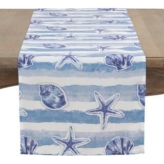 Watercolor Sea Stripe Table Runner