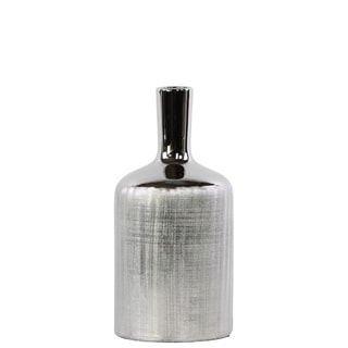 UTC25063: Ceramic Round Bottle Vase with Engraved Criss Cross Designed Body and Smooth Neck MD Polished Chrome Finish Silver