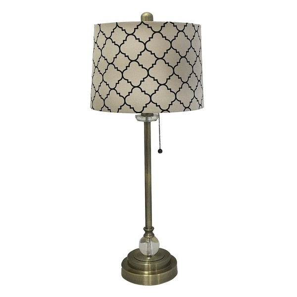 "Royal Designs 28"" Antique Brass Lamp with Eggshell and Black Moroccan Print Shallow Drum Hardback Lamp Shade"