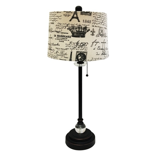 """Royal Designs 28"""" Crystal and Oil Rub Bronze Lamp with Eggshell and Black Vintage French Print Drum Hardback Lamp Shade"""