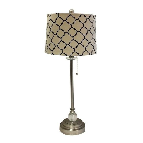 "Royal Designs 28"" Brushed Nickel Lamp with Eggshell and Black Moroccan Print Shallow Drum Hardback Lamp Shade"