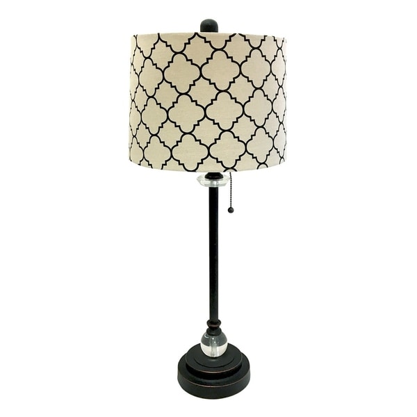 "Royal Designs 28"" Oil Rub Bronze Lamp with Eggshell and Black Moroccan Print Shallow Drum Hardback Lamp Shade"