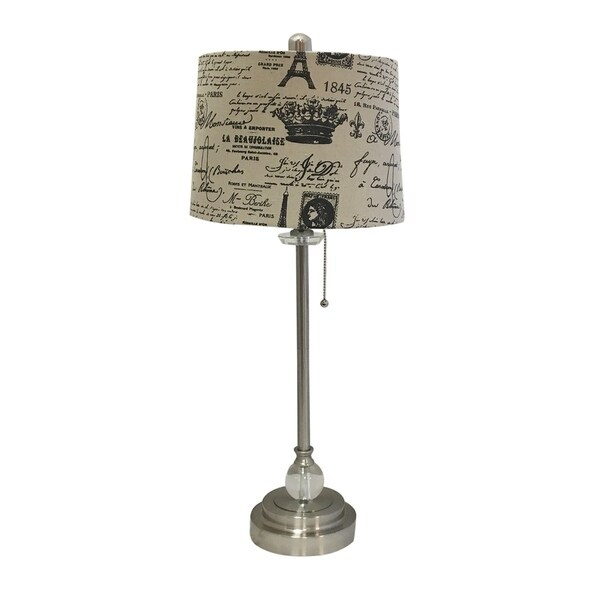 "Royal Designs 28"" Crystal and Brushed Nickel Lamp with Eggshell and Black Vintage French Print Drum Hardback Lamp Shade"