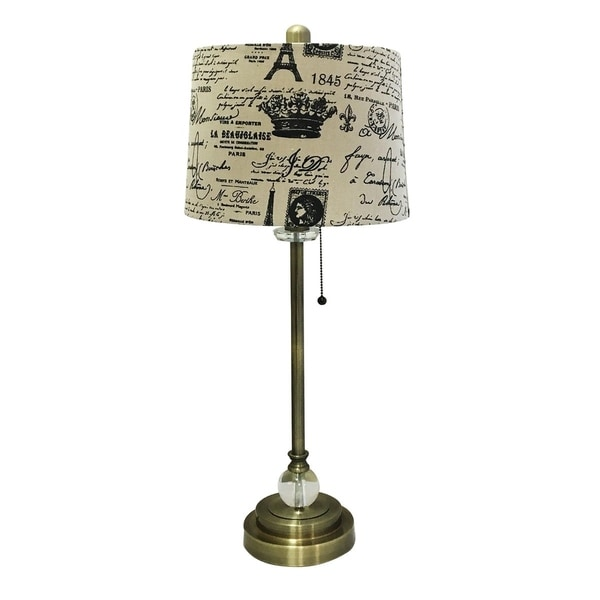 "Royal Designs 28"" Crystal and Antique Brass Lamp with Eggshell and Black Vintage French Print Drum Hardback Lamp Shade"