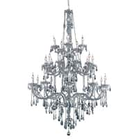 Fleur Illumination Collection Chandelier D:43in H:57in Lt:25 Silver Shade Finish