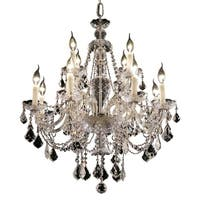 Fleur Illumination Collection Chrome Steel 12-light Chandelier with Crystals