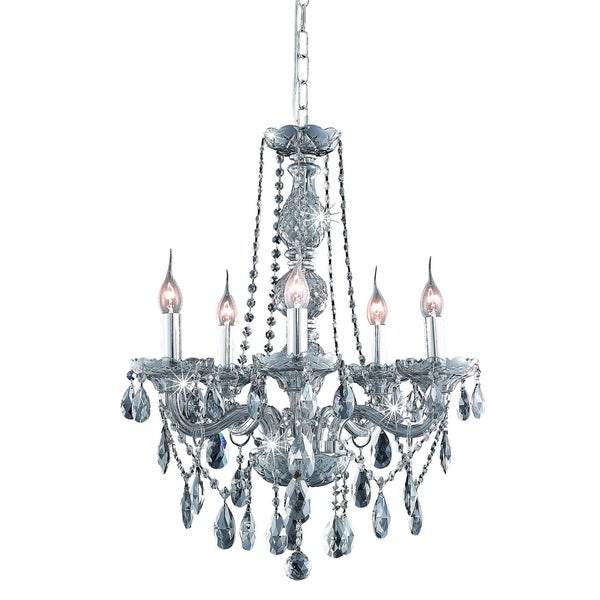 Fleur Illumination Collection Chandelier D:21in H:26in Lt:5 Silver Shade Finish