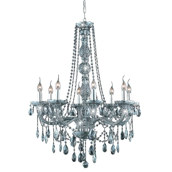 Fleur Illumination Collection Chandelier D:28in H:34in Lt:8 Silver Shade Finish