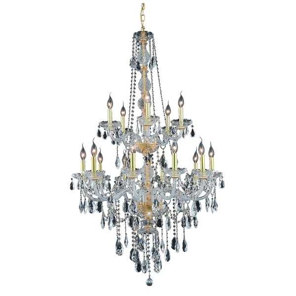 Fleur Illumination Collection Chandelier D:33in H:52in Lt:15 Gold Finish