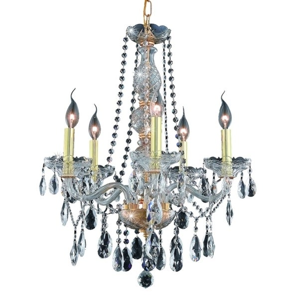 Fleur Illumination Collection Chandelier D:21in H:26in Lt:5 Gold Finish