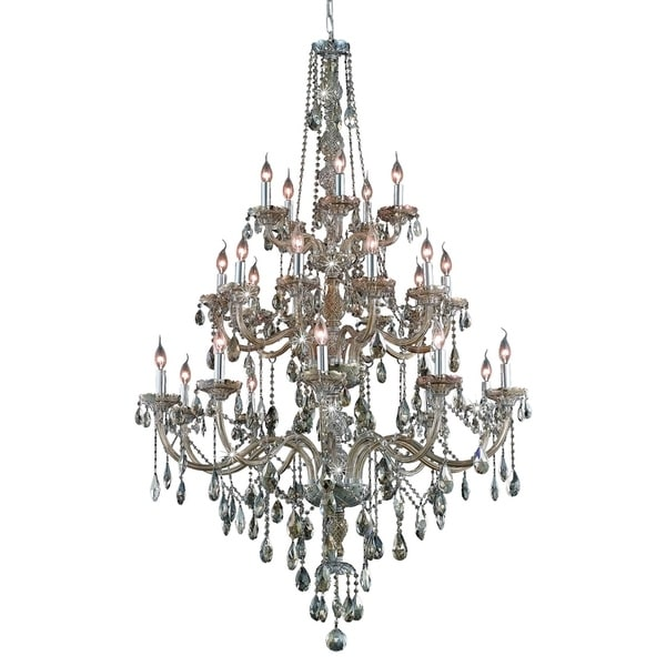 Fleur Illumination Collection Chandelier D:43in H:57in Lt:25 Golden Teak Finish