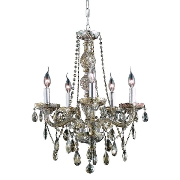 Fleur Illumination Collection Chandelier D:21in H:26in Lt:5 Golden Teak Finish