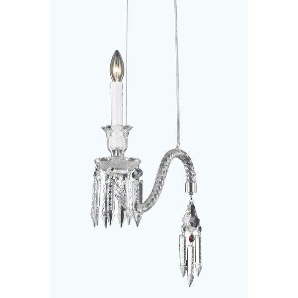 Fleur Illumination Collection Chrome Steel/Glass/Crystal 18-inch x 14-inch 1-light Pendant