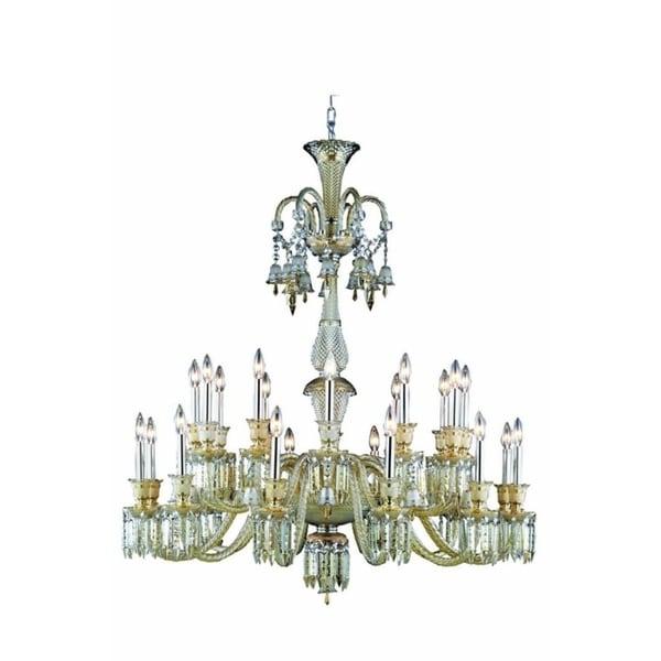 Fleur Illumination Collection Chandelier D:44in H:50in Lt:24 Golden Teak Finish - golden teak/elegant cut crystals (golden teak)