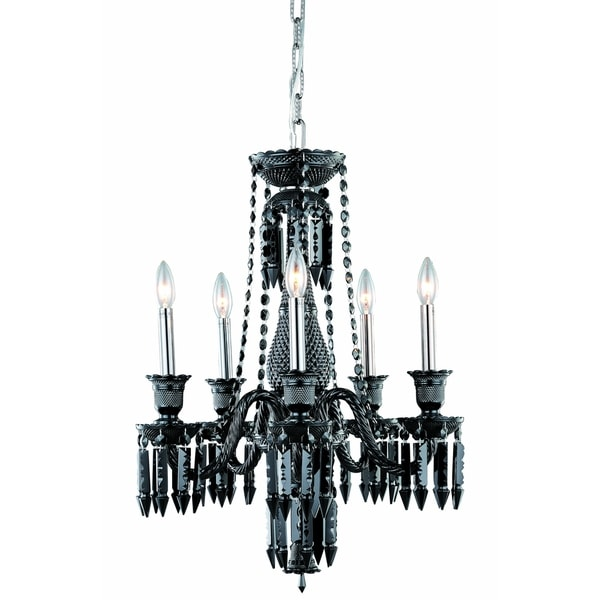 Fleur Illumination Collection 5-Light Black Finish Chandelier
