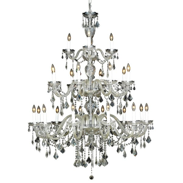 Fleur Illumination Collection Chrome Finish Steel/Clear Glass 60-inch High x 45-inch Diameter 24-light Chandelier with Crystals