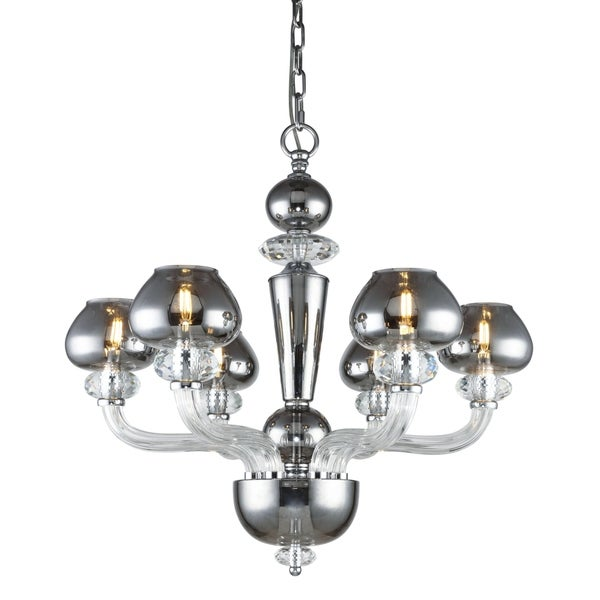 Fleur Illumination Collection Chandelier D:26in H:25in Lt:6 Silver Shade Finish