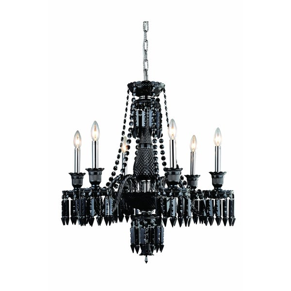 Fleur Illumination Collection 6-light Black Finish Steel Chandelier with Elegant-cut Crystals