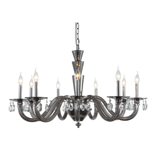 Fleur Illumination Collection Chandelier D:39in H:23in Lt:9 Silver Shade Finish - royal cut crystals/silver shade