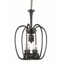 Fleur Illumination Collection Chandelier D:27in H:40in Lt:6 Black Finish - elegant cut crystals