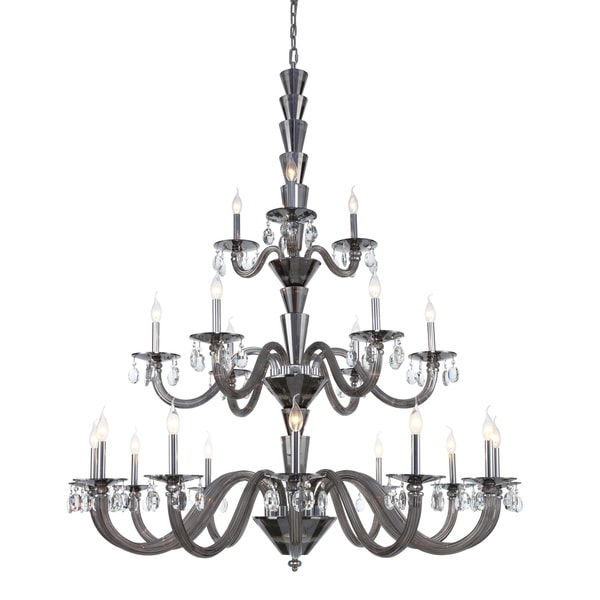 Fleur Illumination Stainless Steel/ Glass 21-light Chandelier