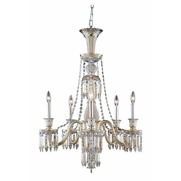 Fleur Illumination Collection Golden Teak Glass/Steel Chandelier