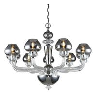 Fleur Illumination Collection Chandelier D:33in H:25in Lt:9 Silver Shade Finish