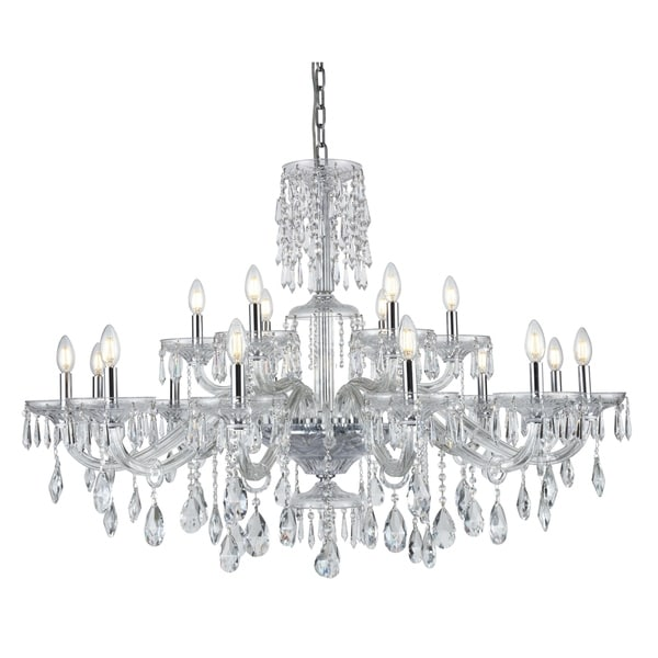 Fleur Illumination Collection Chrome Finish Chandelier with Royal-cut Crystals