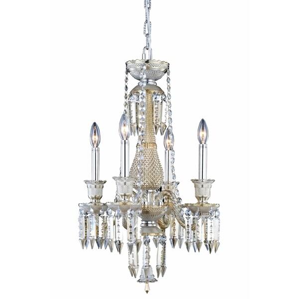 Fleur Illumination Golden Teak Steel 4-light Pendant with Elegant-cut Crystals
